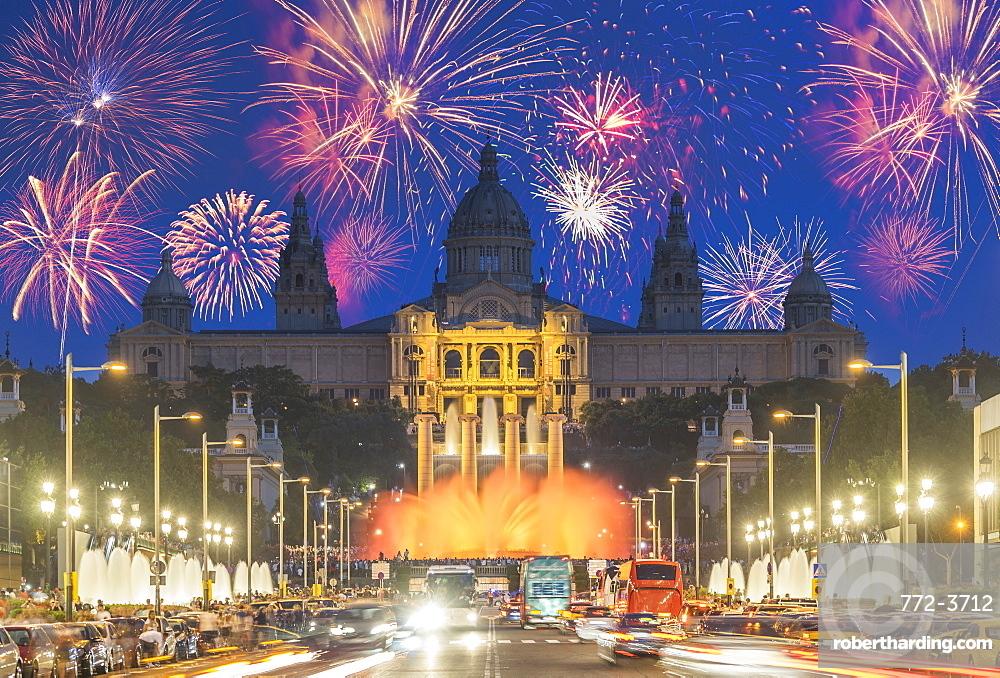 Fireworks, Montjuic, Barcelona, Catalonia, Spain, Europe