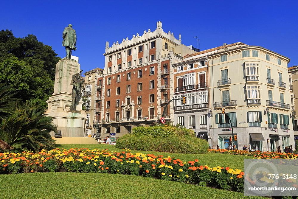 Monument, Alameda Principal Street, Malaga, Andalusia, Spain, Europe