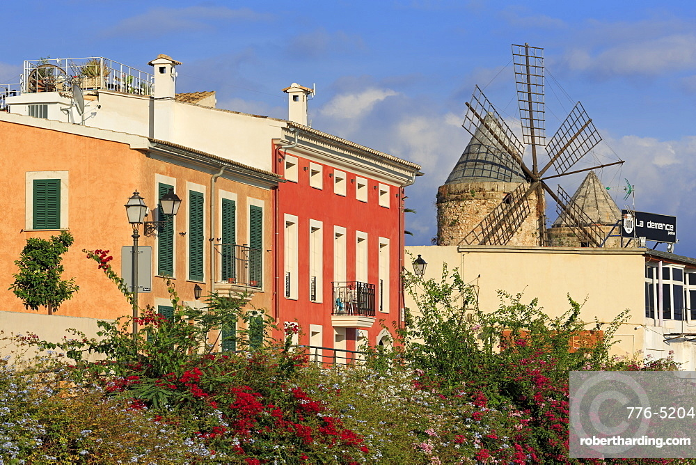 Windmill in Barrio Es Jonquet, Palma De Mallorca, Majorca, Belearic Islands, Spain, Europe