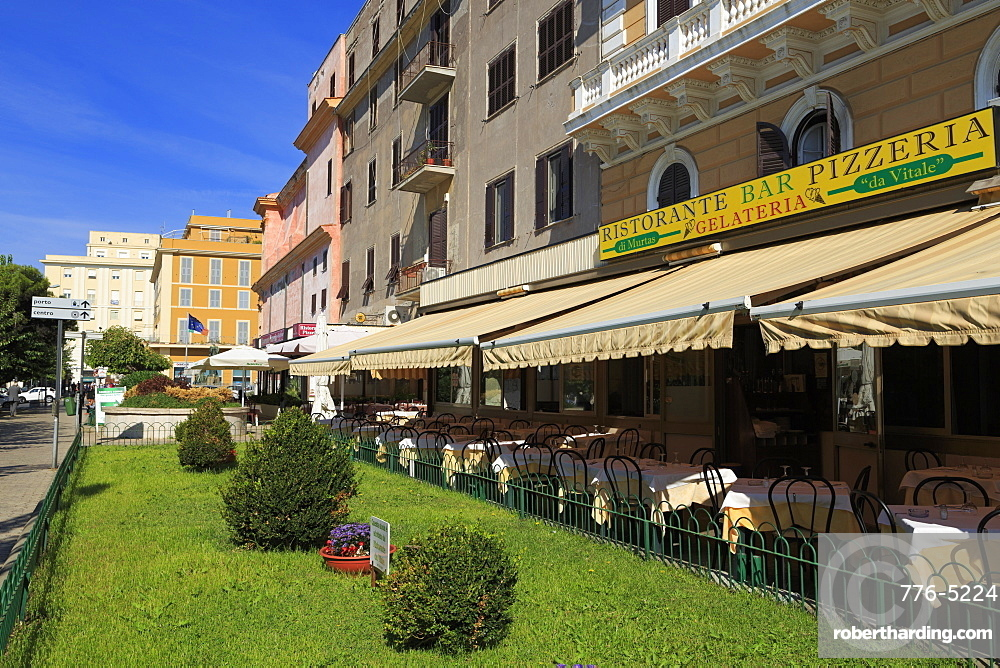 Restaurants on Garibaldi Street, Civitavecchia Port, Lazio, Italy, Europe