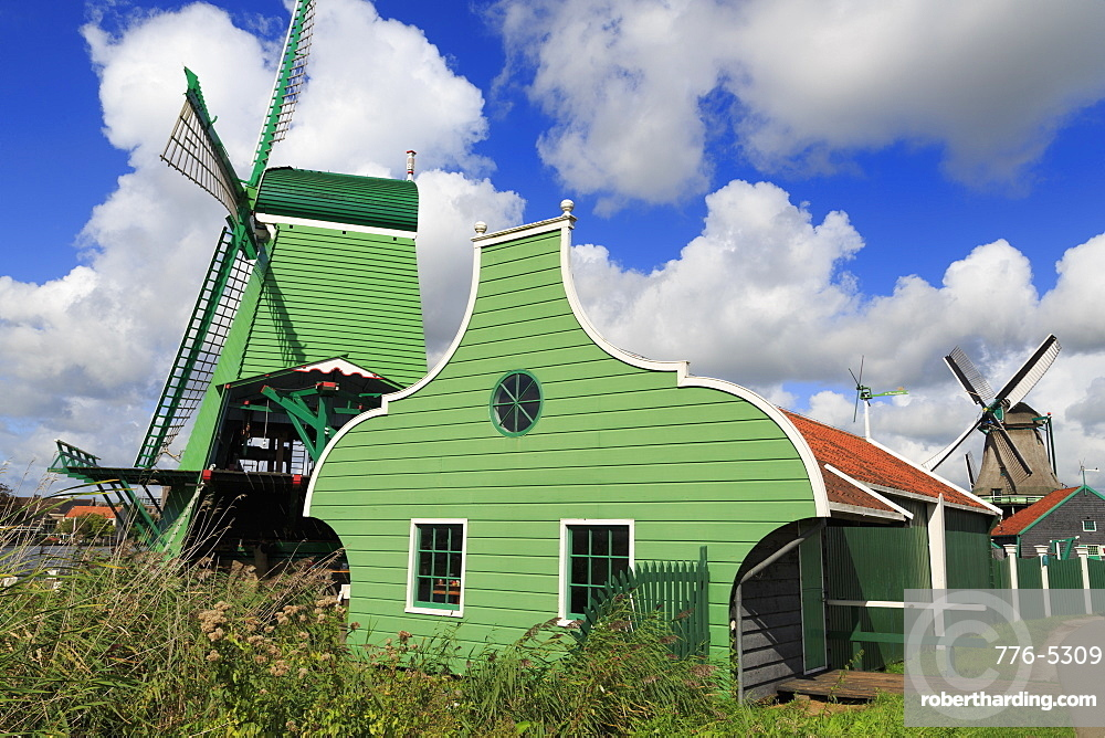Windmills, Zaanse Schans Historical Village, Zaandam, North Holland, Netherlands, Europe