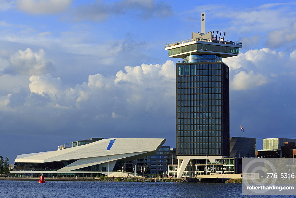 A'Dam Tower and EYE Film Museum, North District, Amsterdam, North Holland, Netherlands, Europe