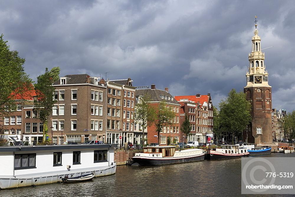 Montelbaan Clock Tower, Oude Schans Canal, Amsterdam, North Holland, Netherlands, Europe