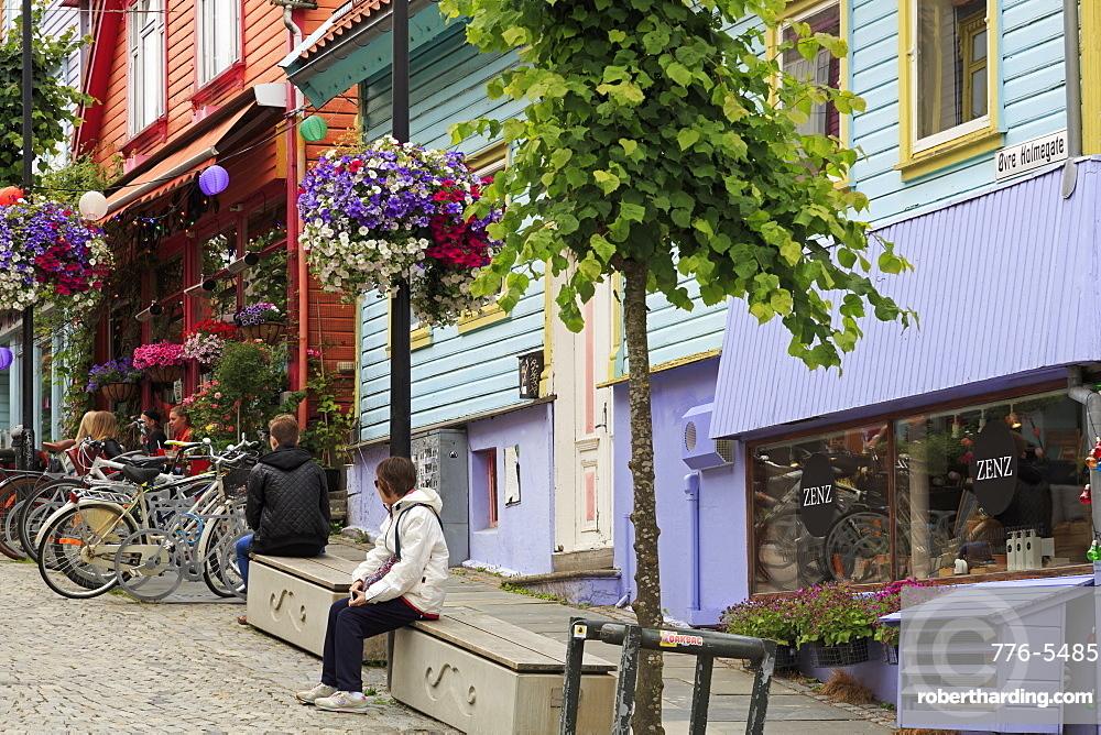 Colorful buildings on Ovr Holmegata, Stavanger City, Ragoland County, Norway, Scandinavia, Europe