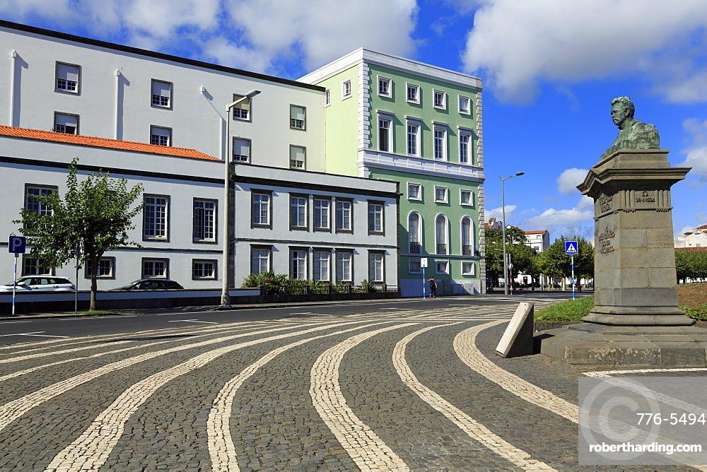 Theofilo Braga Bust, Ponta Delgada City, Sao Miguel Island, Azores, Portugal, Atlantic, Europe