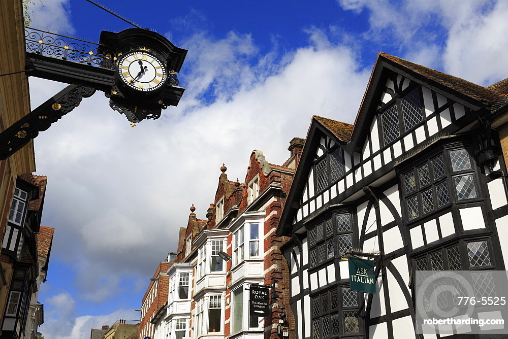 Clock on High Street, Winchester, Hampshire, England, United Kingdom, Europe