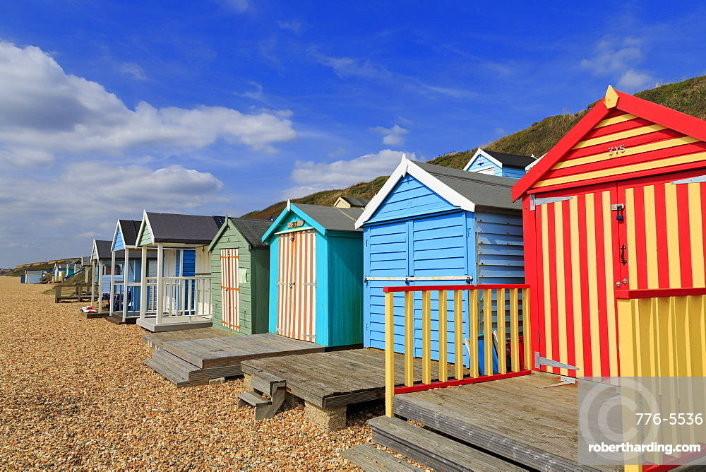 Beach huts, Milford on Sea, Hampshire, England, United Kingdom, Europe