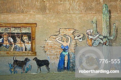 Mural on Joshua Tree Saloon, Joshua Tree City, California, United States of America, North America