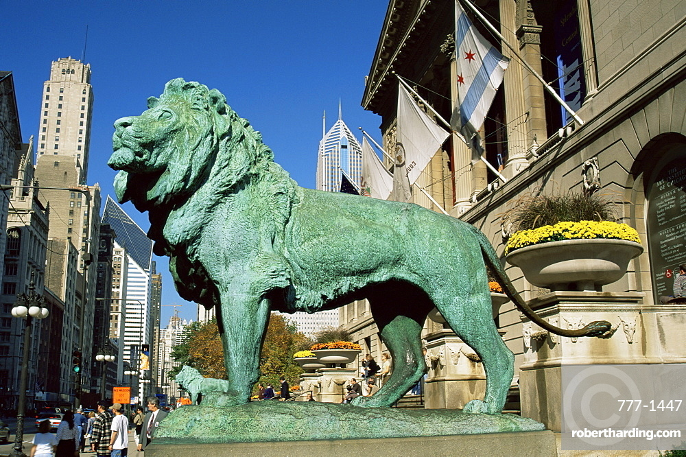 Art Institute lion, Michigan Avenue, Chicago, Illinois, United States of America, North America