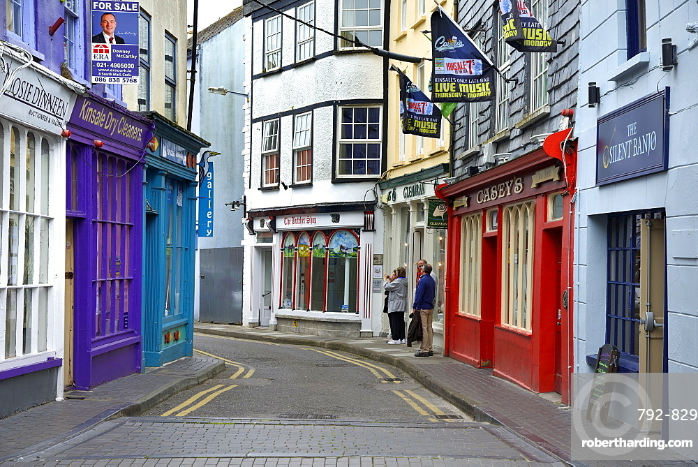 Brightly painted houses and shop facades, Market Lane, Kinsale, Wild Atlantic Way, County Cork, Republic of Ireland, Europe