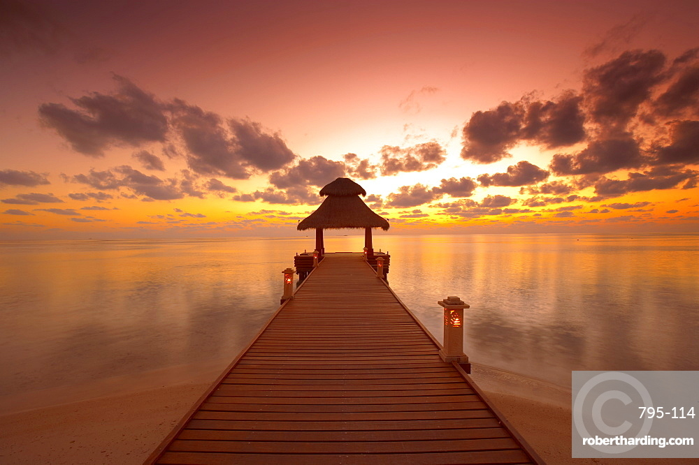 Jetty at sunset, island on North Male Atoll, Maldives, Indian Ocean, Asia