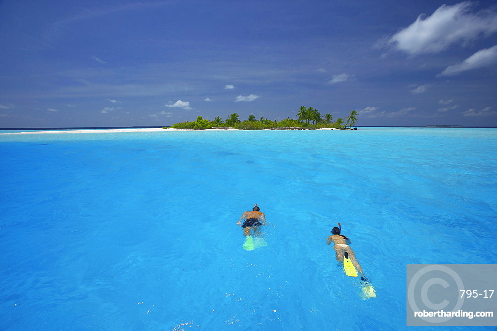 Couple snorkelling in the Maldives, Indian Ocean, Asia