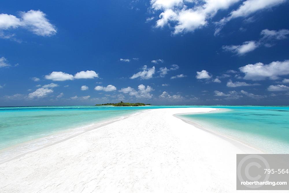 Sandbank and tropical island, Maldives, Indian Ocean, Asia