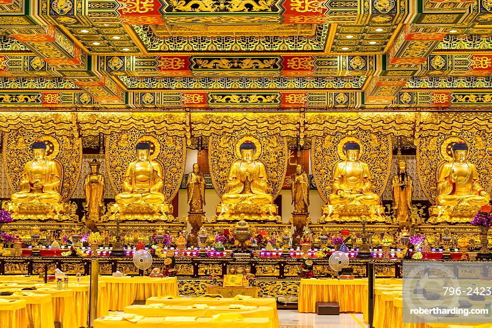 Grand Hall of Ten Thousand Buddhas at the The Big Buddha and Po Lin Monastery, Lantau Island, Hong Kong, China, Asia