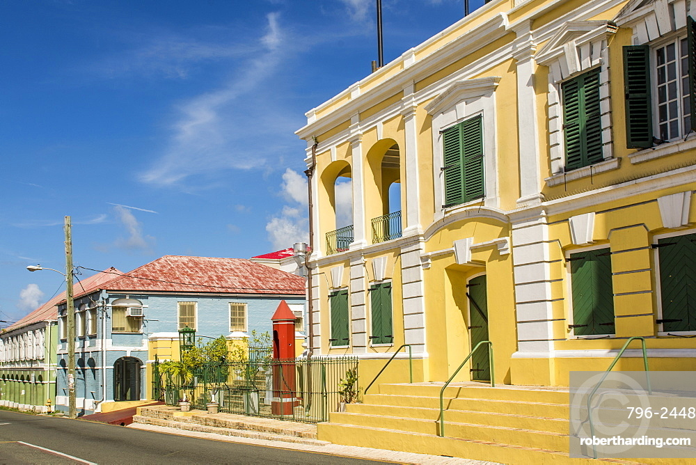 Historic buildings in downtown Christiansted, St. Croix, US Virgin Islands, Caribbean