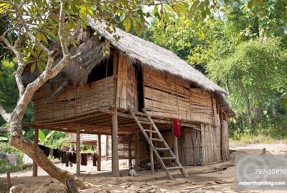 Laos Mekong Bamboo Hut In Stock Photo