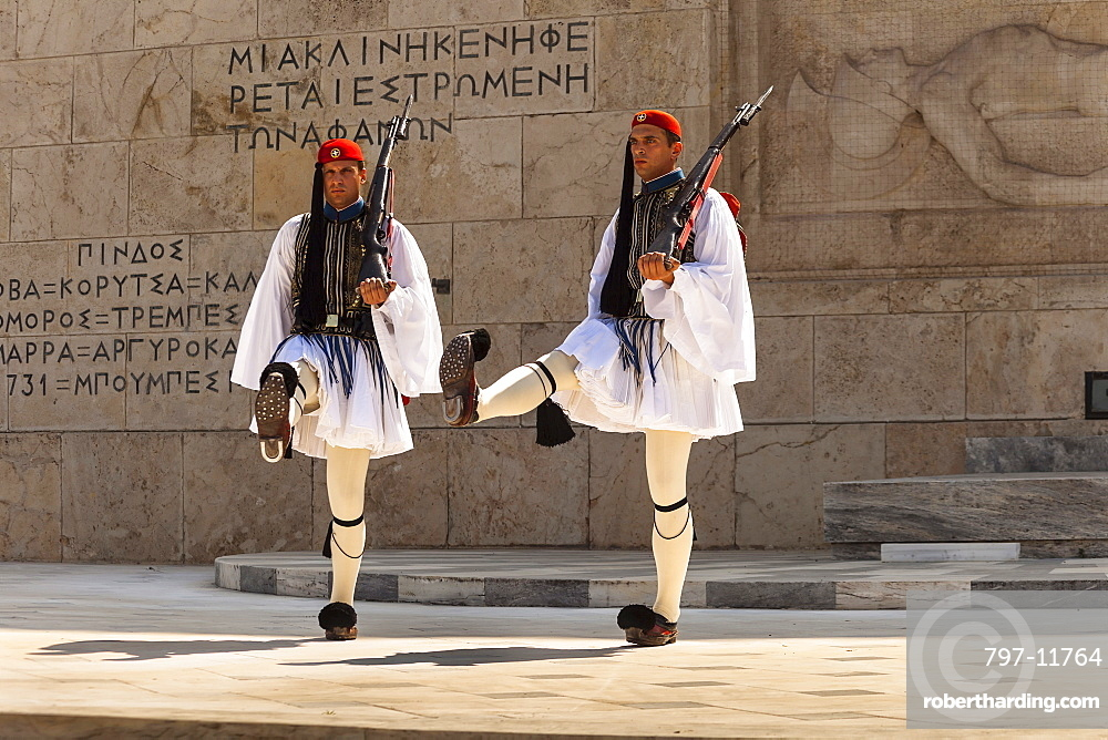 Greece, Attica, Athens, Greek soldiers, Evzones, marching beside Tomb of the Unknown Soldier, outside Parliament building.