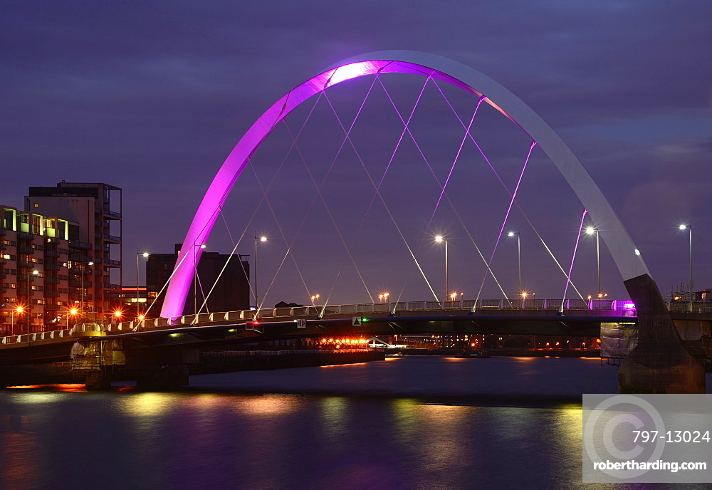 Scotland, Glasgow, The Clyde, Clyde Arc at night and views East along the river.