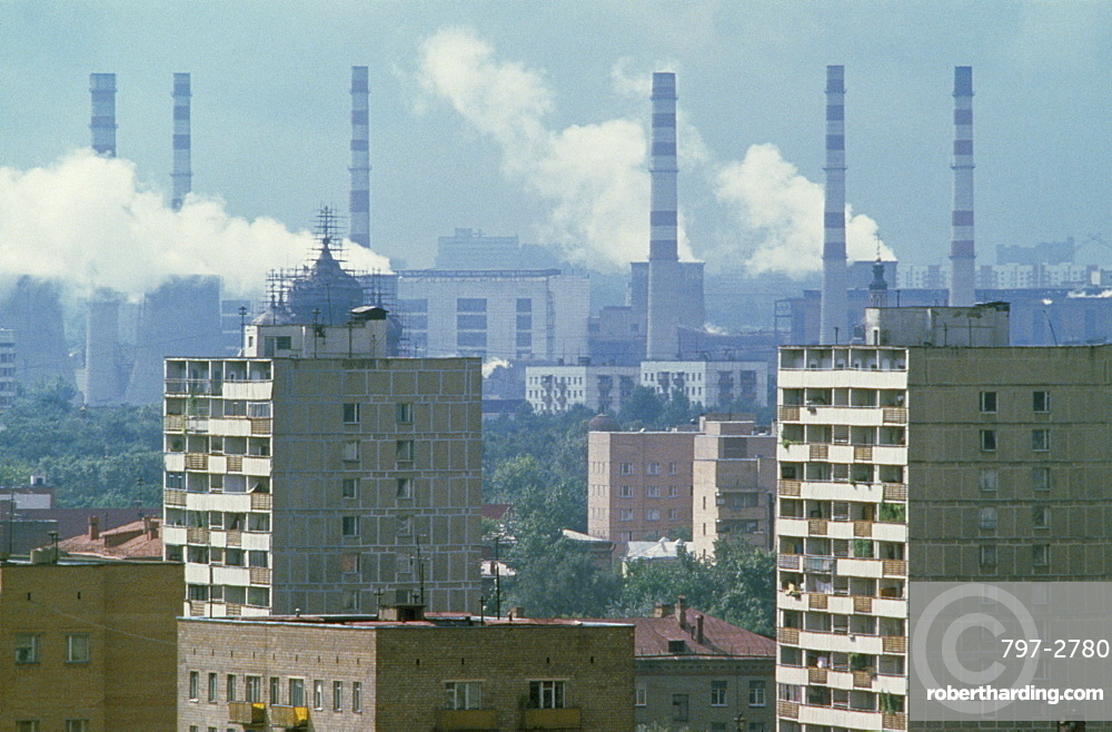 RUSSIA  Moscow Smoke billowing from power station chimneys behind residential housing. air pollution  smog