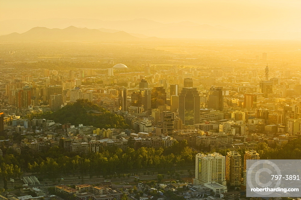 CHILE  Santiago City view at sunset from Cerro San Cristobal. Jon Hicks. Travel Holidays Tourism Latin America Santiago Chile South America Urban Skyline Viewpoint Cerro San Cristobal Pollution Smog Haze Capital City American Chilean Hispanic Latino