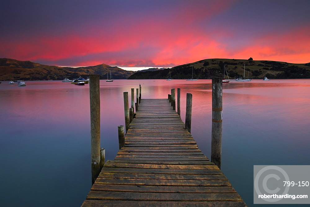 Sunrise over Akaroa harbour, Banks Peninsula, South Island, New Zealand, Pacific