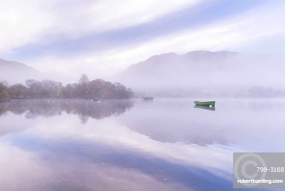 Misty autumn morning on Ullswater in the Lake District, Cumbria, England, United Kingdom, Europe