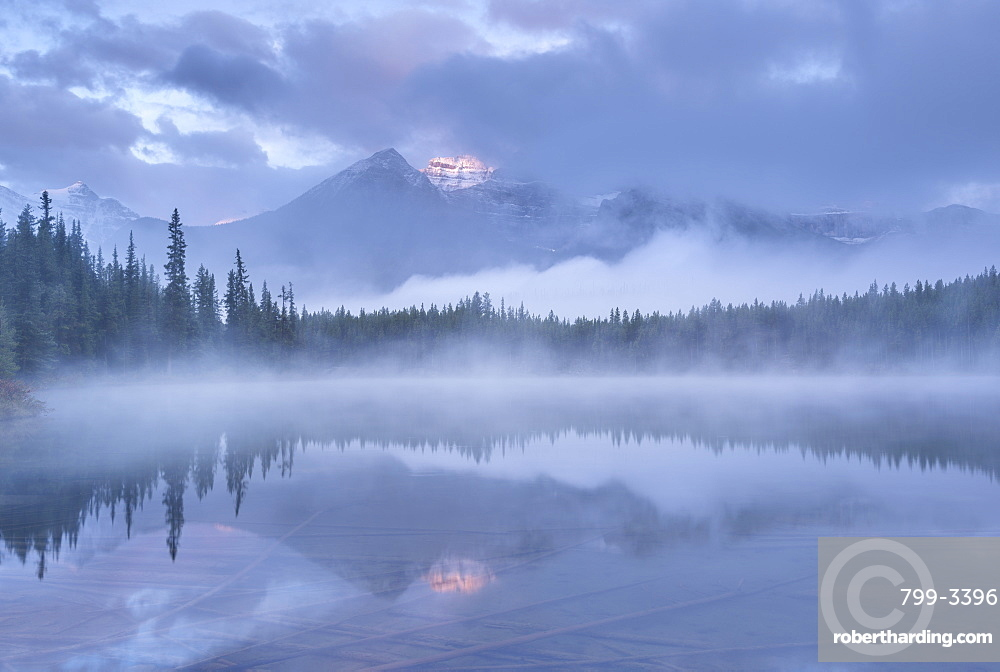 Misty morning in the Canadian Rockies, Herbert Lake, Banff National Park, UNESCO World Heritage Site, Alberta, Canada, North America