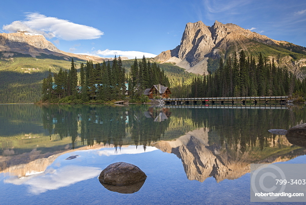 Mirror still reflections on Emerald Lake in Yoho National Park, UNESCO World Heritage Site, British Columbia, Canada, North America