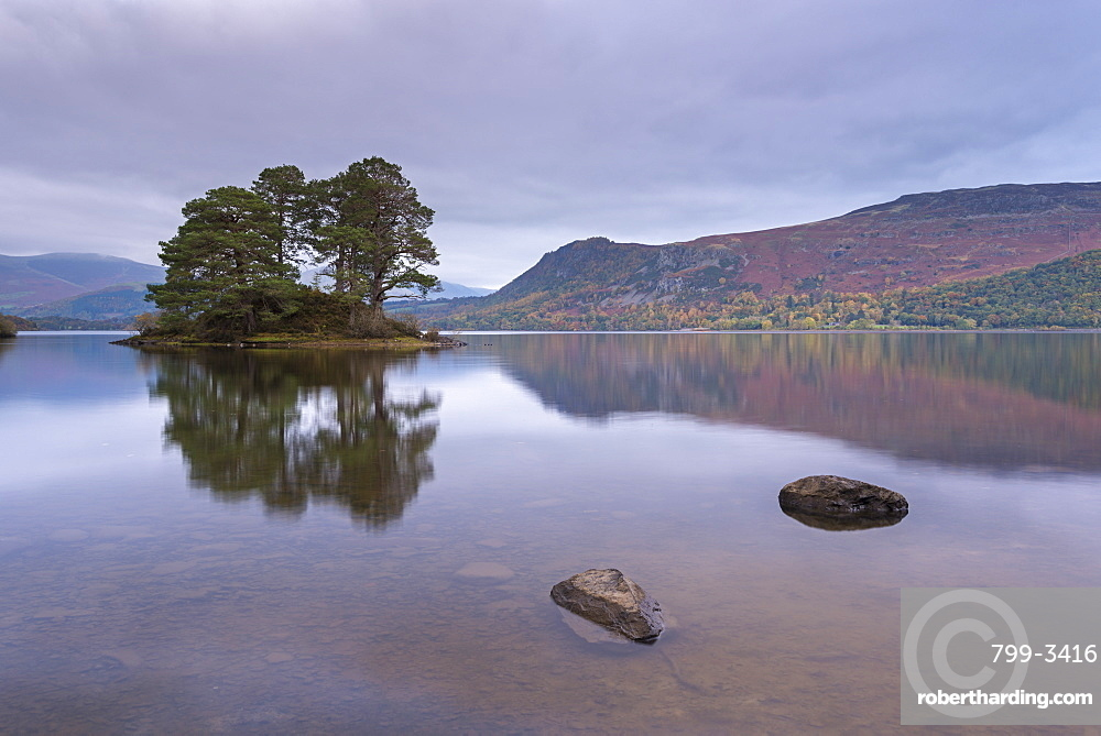 Island in the tranquil waters of Derwent Water, Lake District National Park, Cumbria, England, United Kingdom, Europe