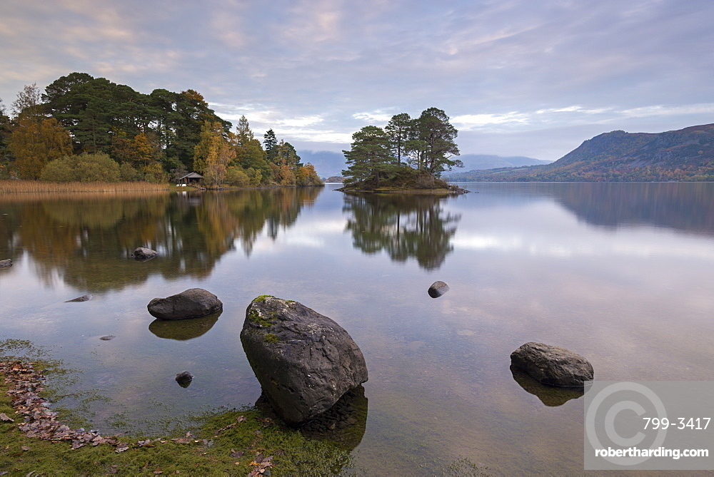Peaceful shoreline of Derwent Water in the Lake District National Park, Cumbria, England, United Kingdom, Europe