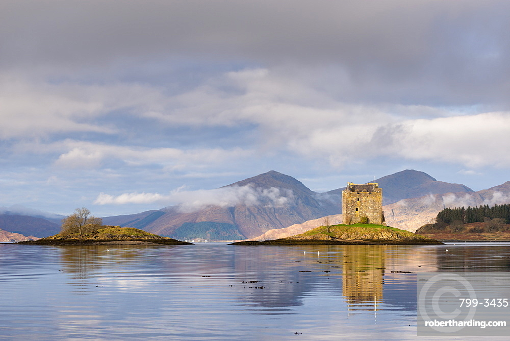 Castle Stalker reflected in Loch Linnhe, Scottish Highlands, Scotland, United Kingdom, Europe