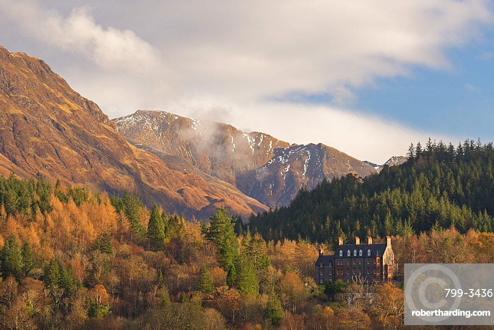 The luxurious five star Glencoe House Hotel surrounded by dramatic mountain scenery, Glencoe, Scotland, United Kingdom, Europe