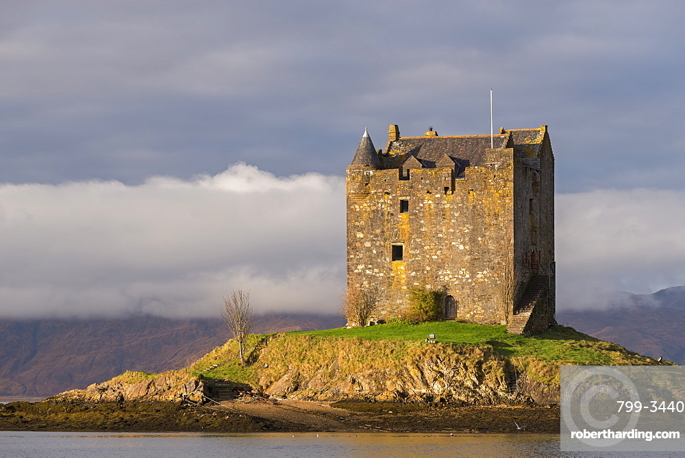 Castle Stalker on an island in Loch Linnhe, Scottish Highlands, Scotland, United Kingdom, Europe