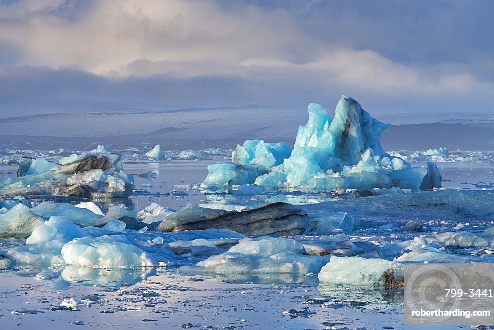 Blue icebergs in Jokulsarlon glacial lagoon, Iceland, Polar Regions