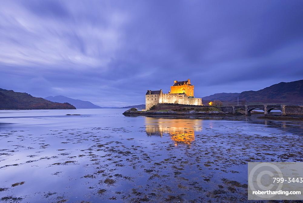 Twilight over Eilean Donan Castle on Loch Duich, Dornie, Highlands, Scotland, United Kingdom, Europe