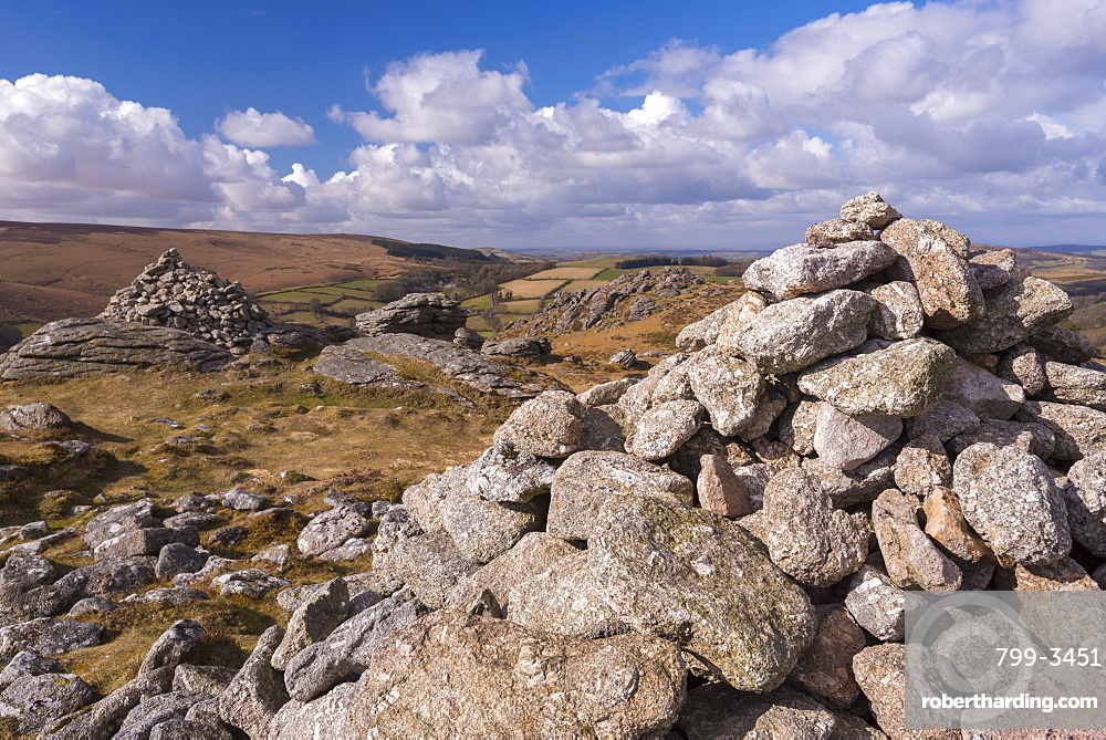 Granite stone cairns on Chinkwell Tor, Dartmoor National Park, Devon, England, United Kingdom, Europe