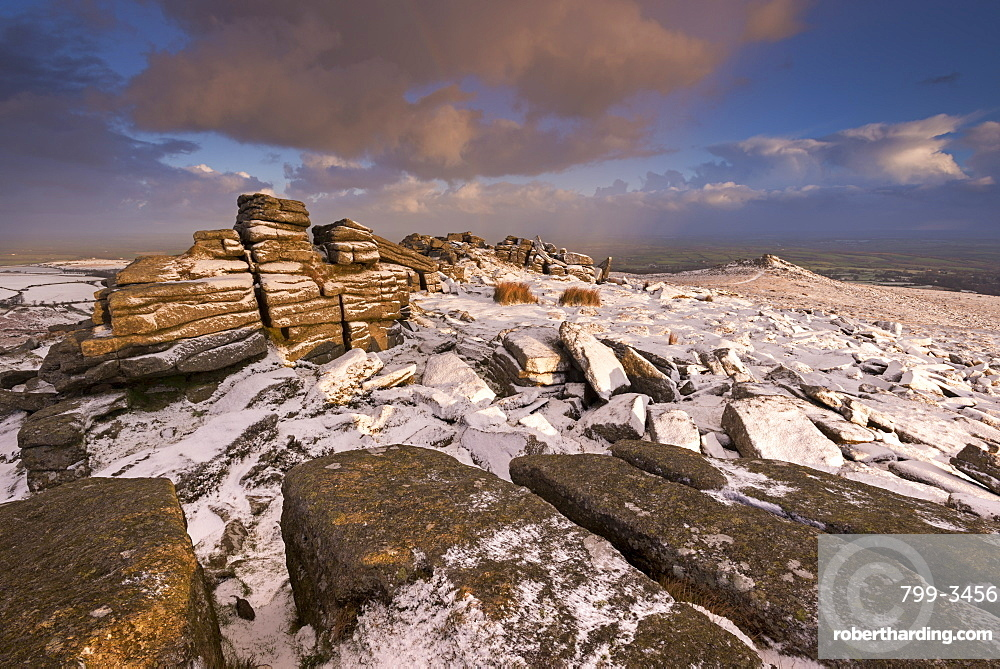 Snow dusted granite outcrops on Belstone Tor, Dartmoor, Devon, England, United Kingdom, Europe
