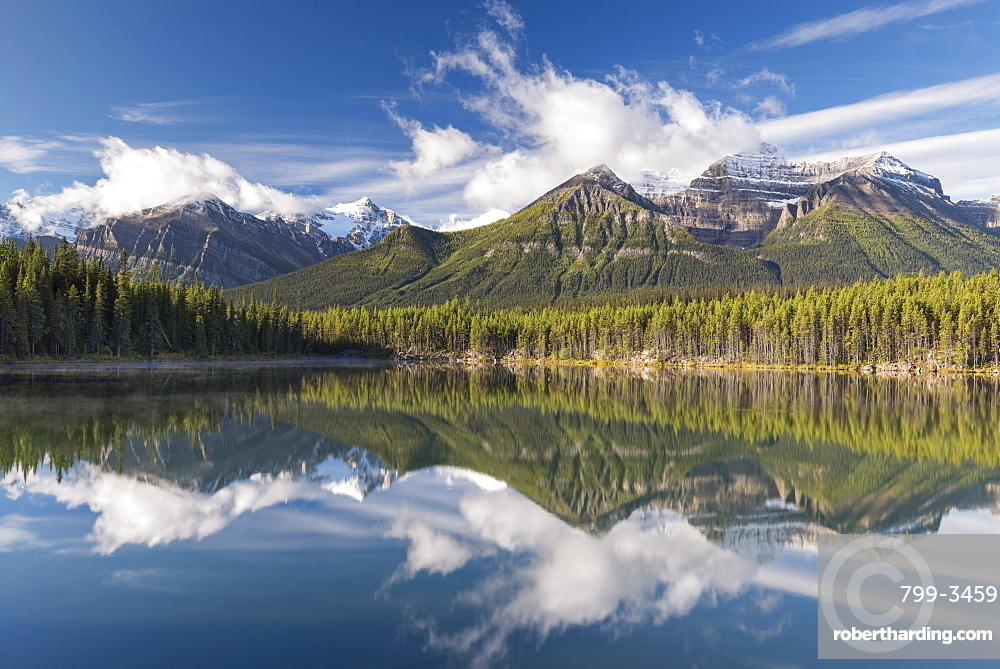 Mirror reflections at Herbert Lake in the Canadian Rockies, Banff National Park, UNESCO World Heritage Site, Alberta, Canada, North America