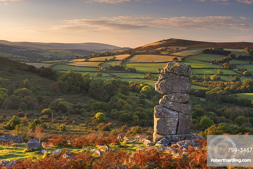 Bowerman's Nose granite pillar on Hayne Down in autumn, Dartmoor, Devon, England, United Kingdom, Europe