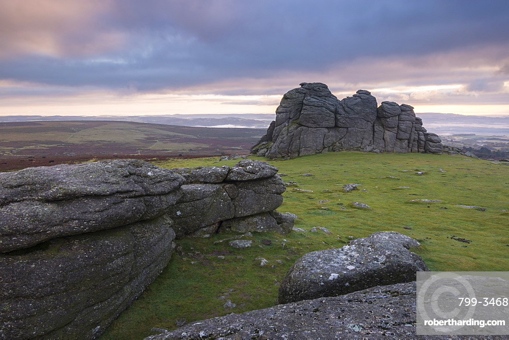 Colourful sunrise sky above Haytor, Dartmoor National Park, Devon, England, United Kingdom, Europe