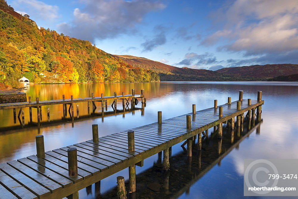 Jetties on Ullswater in the Lake District National Park, Cumbria, England, United Kingdom, Europe