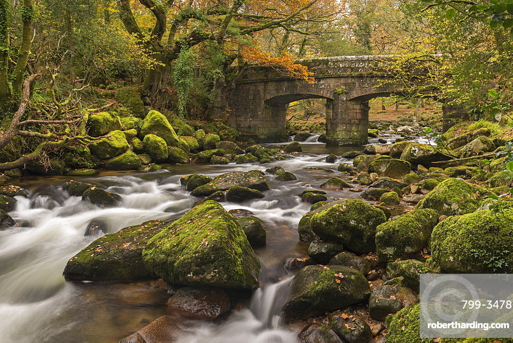 Stone bridge spanning the River Plym in Dartmoor National Park, Devon, England, United Kingdom, Europe