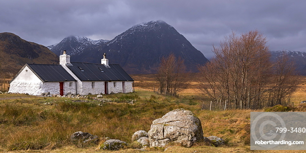 Black Rock cottage and Buachaille Etive Mor mountain on Rannoch Moor in winter, Scottish Highlands, Scotland, United Kingdom, Europe