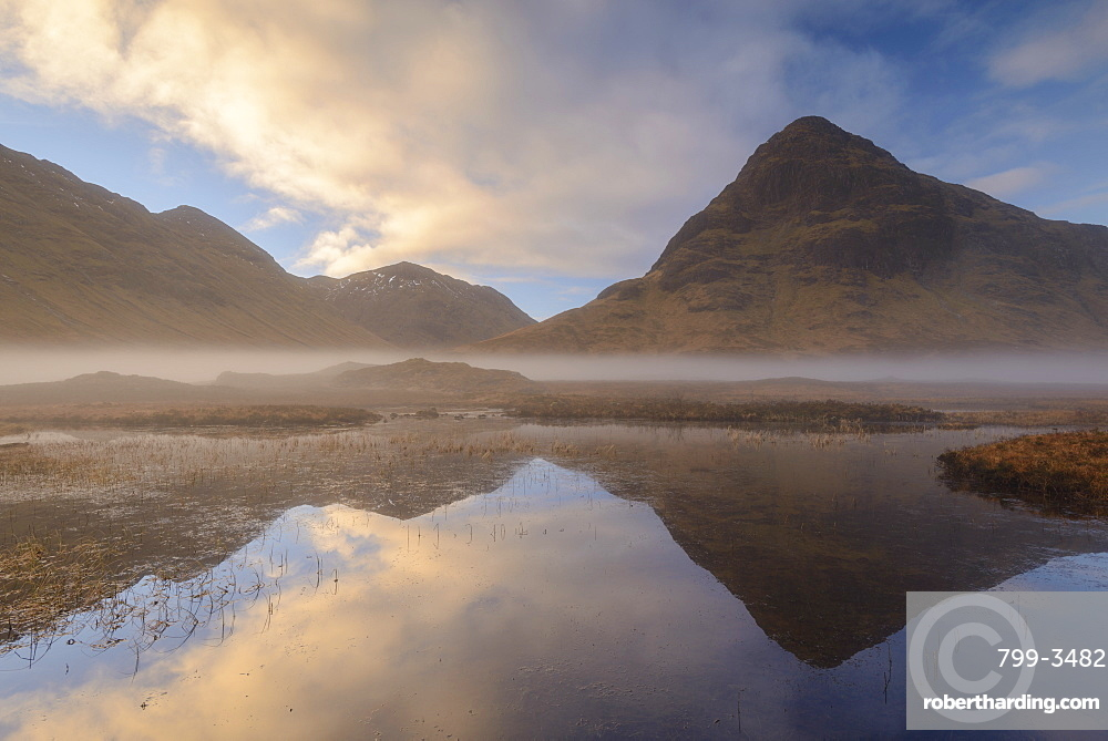 Buachaille Etive Beag reflected in Lochan na Fola at dawn, Glencoe, Scottish Highlands, Scotland, United Kingdom, Europe