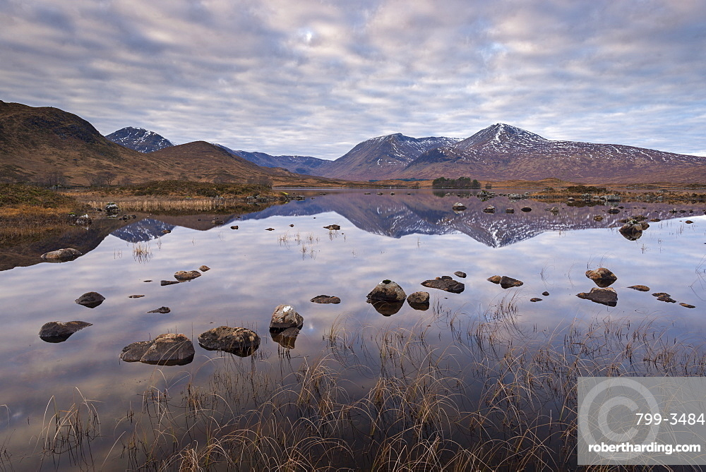 Mirror like reflections on Lochan na h-achlaise on Rannoch Moor, Highlands, Scotland, United Kingdom, Europe