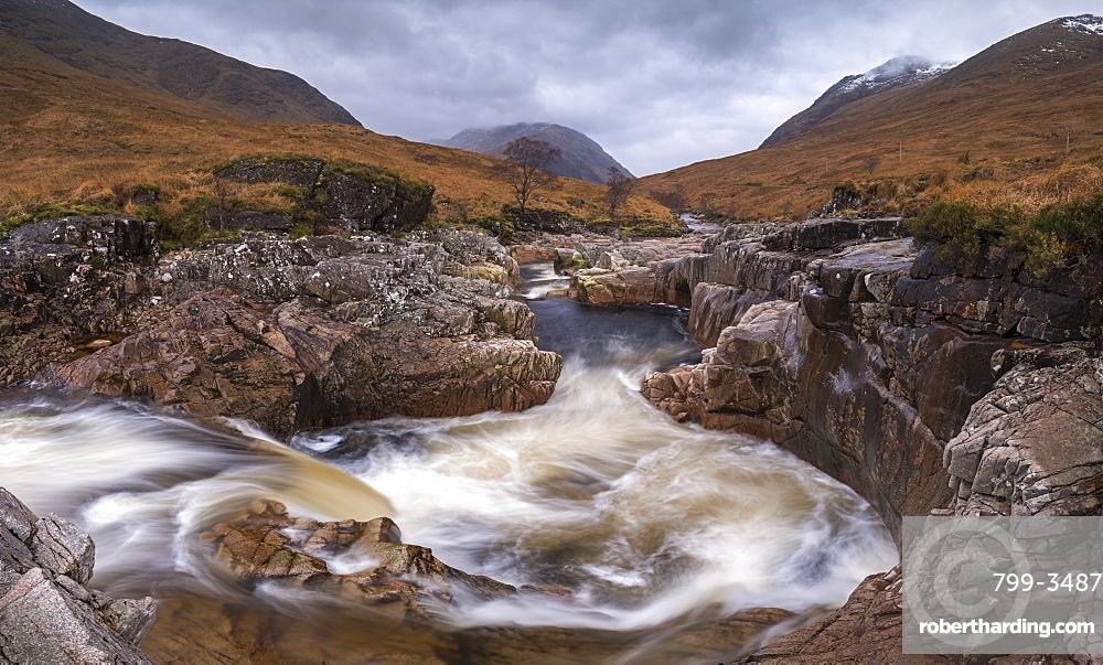 Fast flowing River Etive rushing through Glen Etive in the Scottish Highlands, Scotland, United Kingdom, Europe