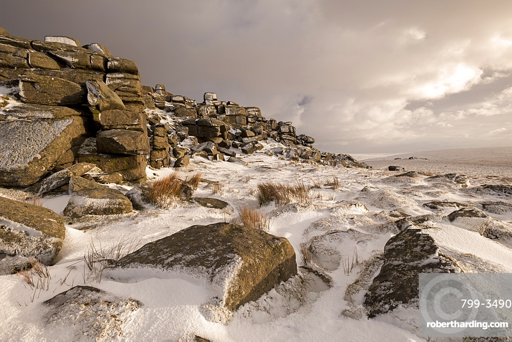 Snow covered moorland at West Mill Tor, Dartmoor National Park, Devon, England, United Kingdom, Europe
