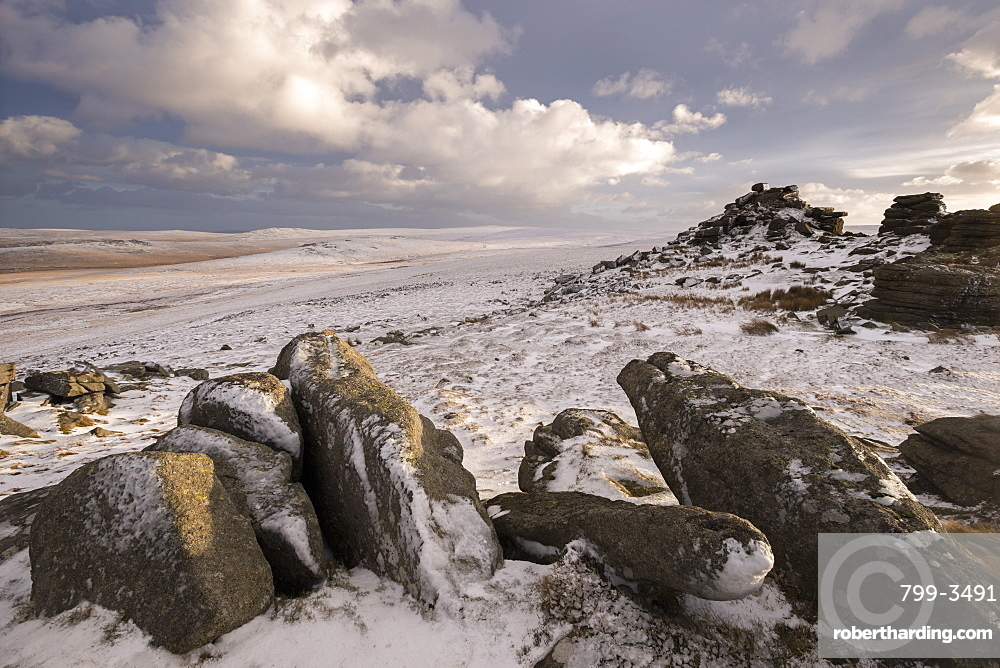 Snow covered moorland at West Mill Tor, Dartmoor, Devon, England, United Kingdom, Europe