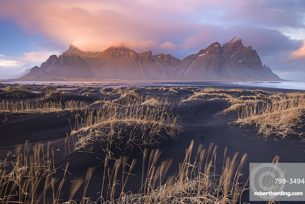 Sunset over Vestrahorn mountain on the southern coast in winter, Iceland, Polar Regions