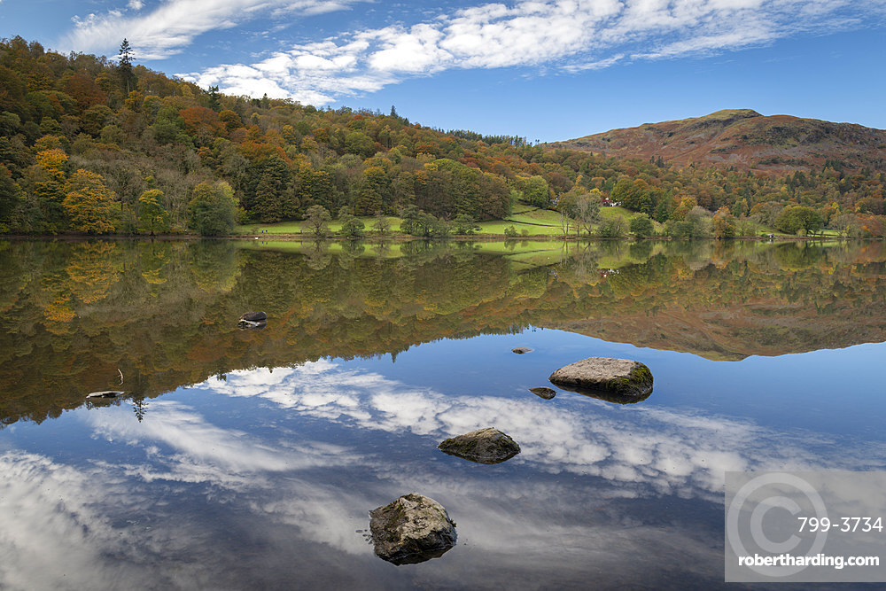 Reflections on Lake Grasmere, Lake District National Park, Cumbria, England. Autumn (October) 2018.